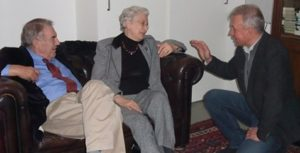 Hans van Mierlo en Els Borst tijdens de presentatie van het boek 'M'n vrouw kwijt'. (februari 2009).